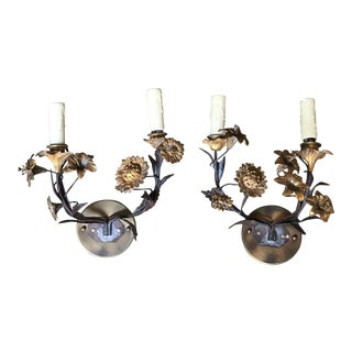 Floral Bronze Candelabras - a Pair For Sale