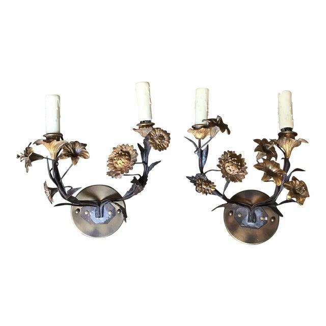 Floral Bronze Candelabras - a Pair For Sale