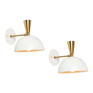 'Lola Ii' Sconces in White Metal and Brass - a Pair For Sale