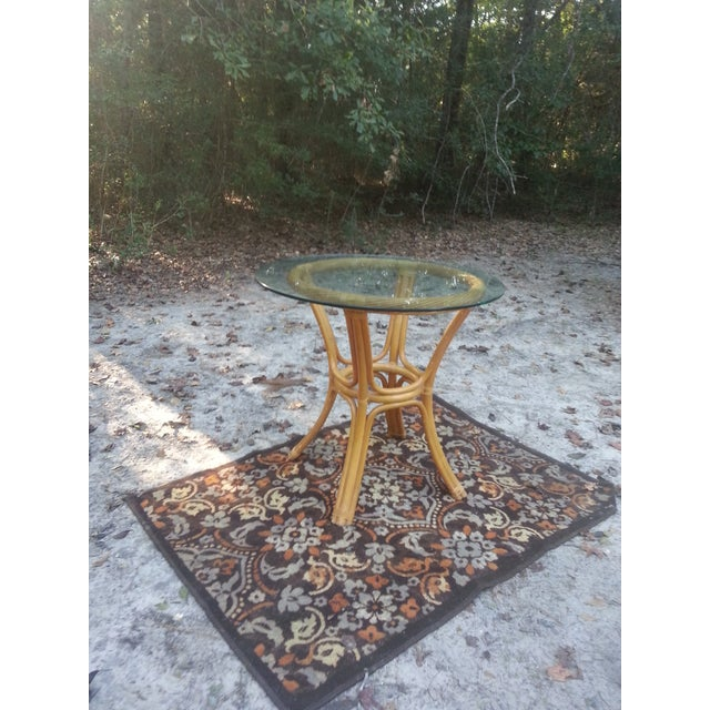 Beveled Glass Bamboo Table - Image 2 of 7