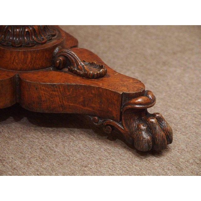 Brown Antique English 19th Century Carved Burled Walnut Tea Poy For Sale - Image 8 of 9