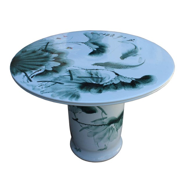 Asian Chinese White Porcelain Green Lotus Fish Motif Round Table For Sale - Image 3 of 7
