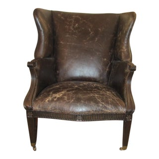 Oversized Brown Distressed Leather Wingback Chair For Sale