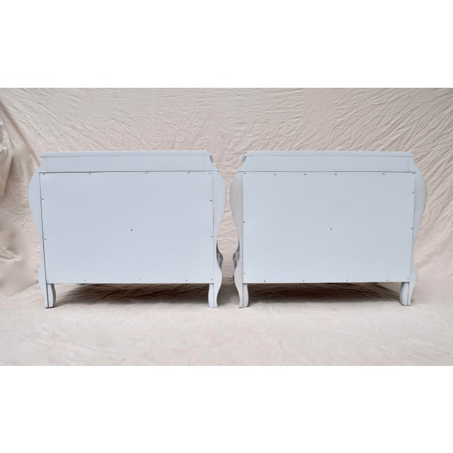 French Provincial Bombe Chests or Commodes, Pair For Sale - Image 9 of 10