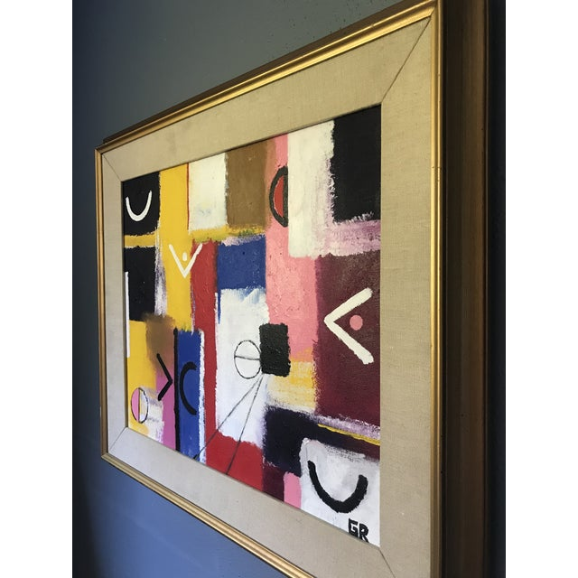 Beautiful composition and pops of color on this original abstract acrylic on canvas painting, signed GR. We believe this...