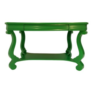 19th Century America Empire Revival Library Writing Desk Table Painted Green Home Office For Sale