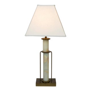 Art Deco Marble and Brass Table Lamp For Sale