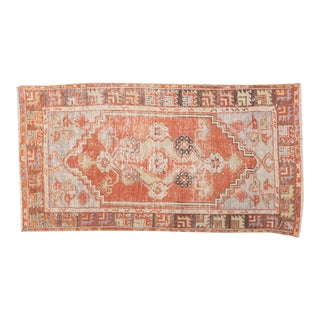 "Vintage Distressed Oushak Rug - 2'5"" x 4'7"" For Sale"
