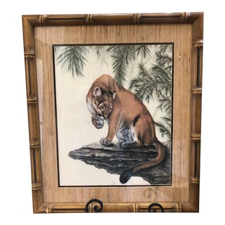 "Vintage Mid-Century i.h. Farnsworth ""Cougar"" Original Signed Lithograph Print For Sale"