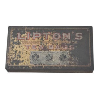 1940s Lipton Tea Advertising Tin Stash Box For Sale