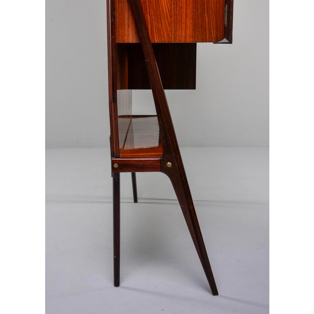 Mid Century Italian Free Standing Rosewood Wall Unit With Marquetry For Sale - Image 9 of 13