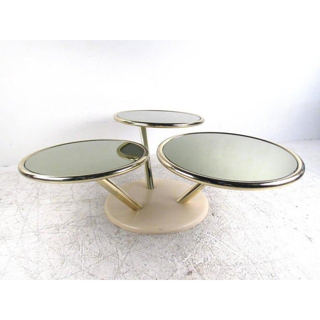 Unique Mid-Century Brass and Glass Swivel Top Coffee Table For Sale - Image 10 of 10