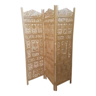 Antique Gold 3 Panel Floor Screen For Sale