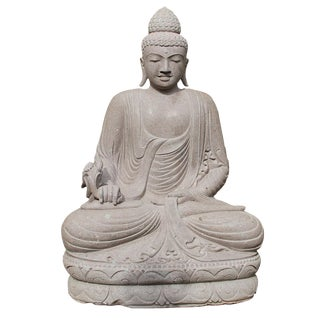 Stone Carved Sitting Buddha Figure For Sale