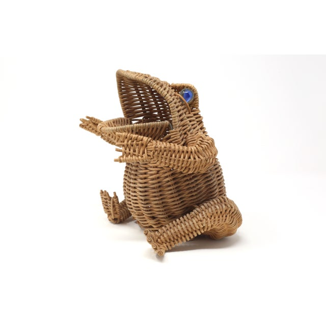 Vintage Wicker Frog Basket With Glass Marble Eyes For Sale - Image 11 of 11