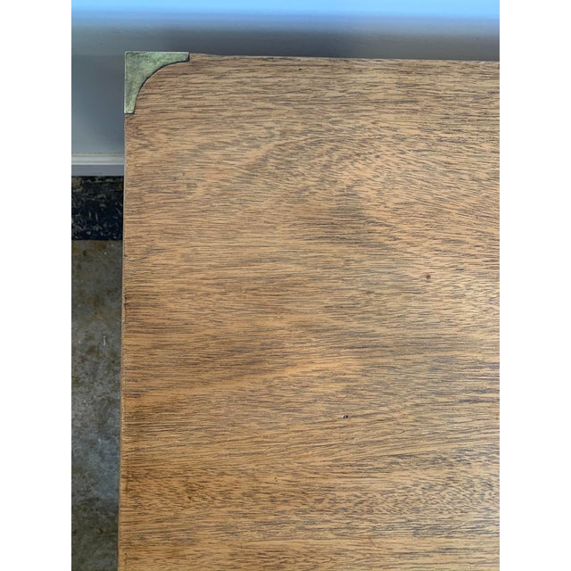 Metal Campaign Style Wood Coffee Table W/Drawers For Sale - Image 7 of 10