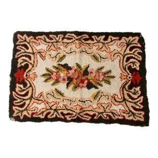 Antique Floral Hooked Rug For Sale