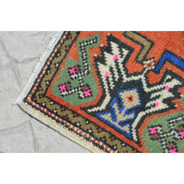 """Hollywood Regency Hand Knotted Door Mat, Entryway Rug, Bath Mat, Kitchen Decor, Small Rug, Turkish Rug - 1'9"""" X 3'2"""" For Sale - Image 3 of 5"""
