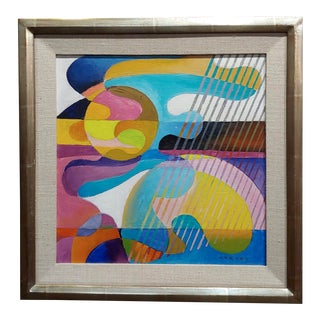Dick Hersey - Mid Century Geometric Abstract - Oil Painting For Sale