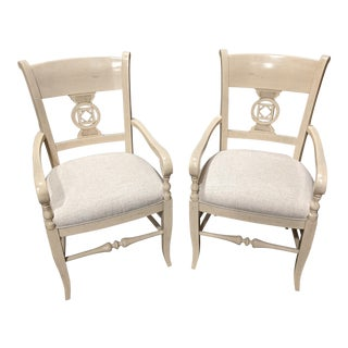 Creamy Arm Chairs- a Pair For Sale