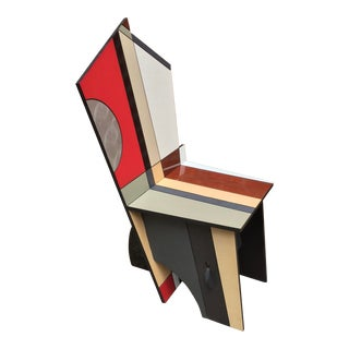 Postmodern Memphis Style Studio Craft Interlokz Furniture Half Moon Chair For Sale