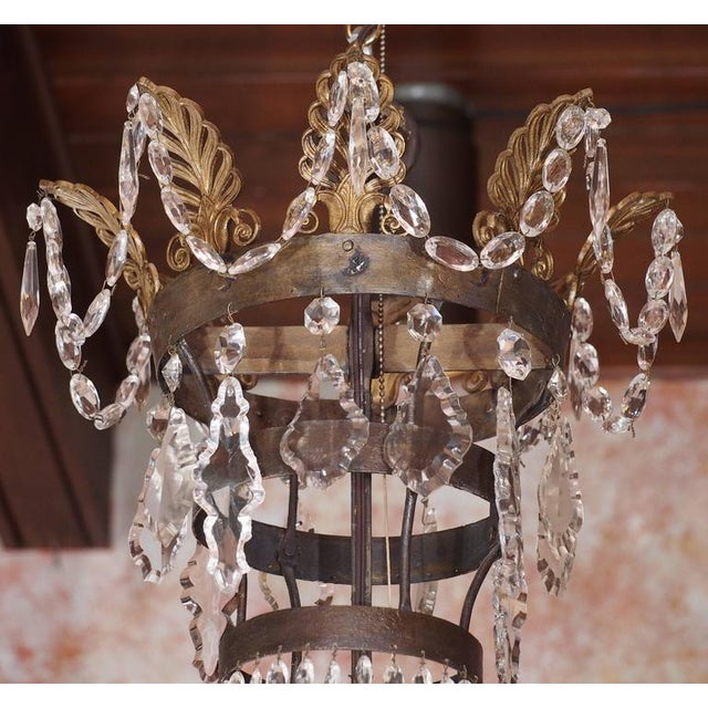 Antique French Empire Crystal and Bronze Eight-Light Chandelier For Sale - Image 4 of 7