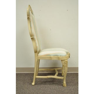 Vintage Swedish Rococo French Style Shell Carved Cream Painted Side Accent Chair Preview