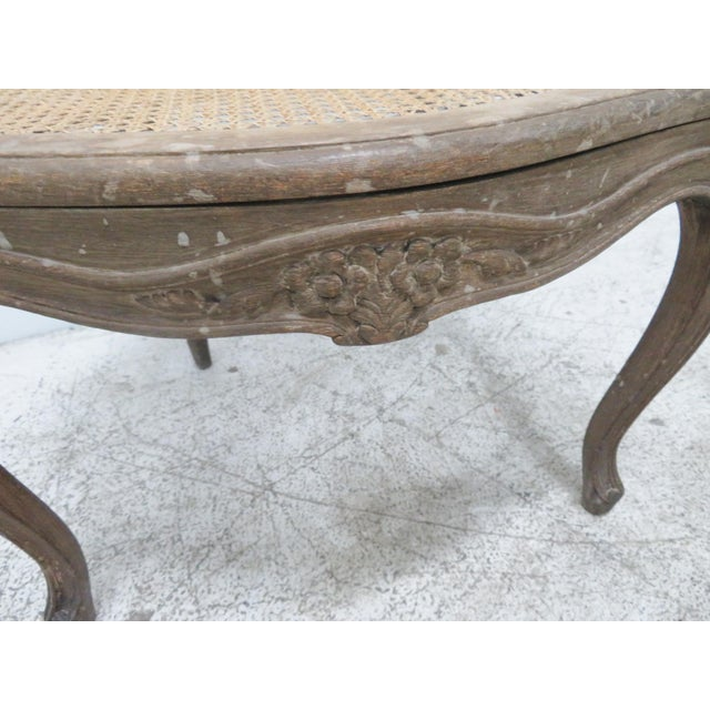 French Style Antique Caned Distressed Chair - Image 8 of 9