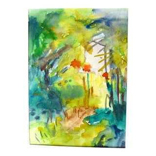 """""""Summer Garden"""" Contemporary Expressionist Plein Air Landscape Watercolor Painting on Paper by Martha Holden For Sale"""