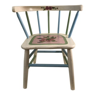 Painted Child's Spindle Chair For Sale
