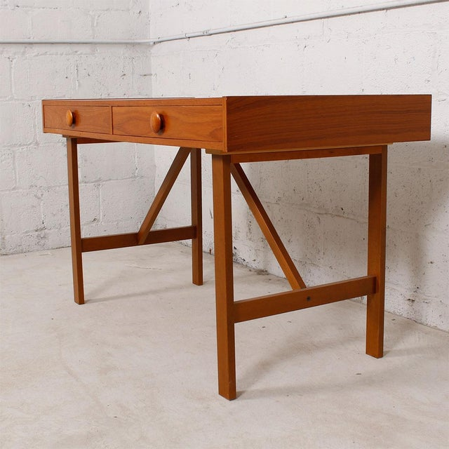 Danish Modern Compact Teak Two Drawer Desk - Image 6 of 6