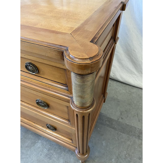 Lovely French Louis XVI style antique walnut five drawer commode, all original finish and hardware, and comes with key....