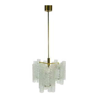 Extraordinary Doria Midcentury Crystal Ice Glass Chandelier, Germany, 1960s For Sale