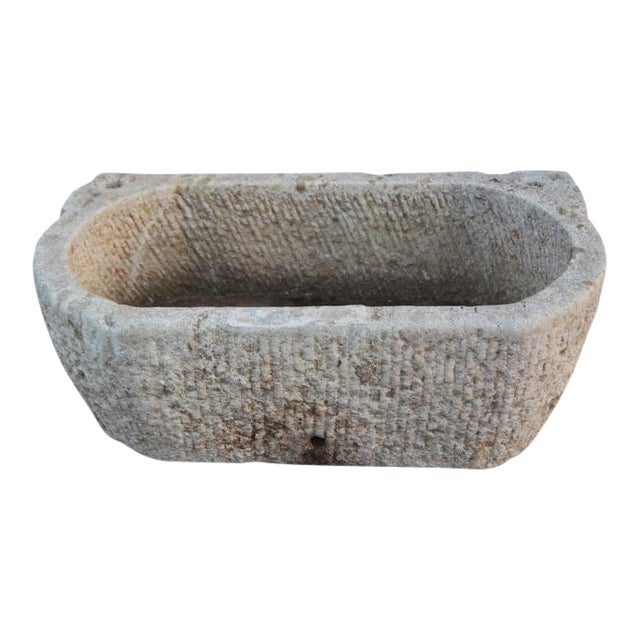Rustic Stone Basin Planter - Image 1 of 3