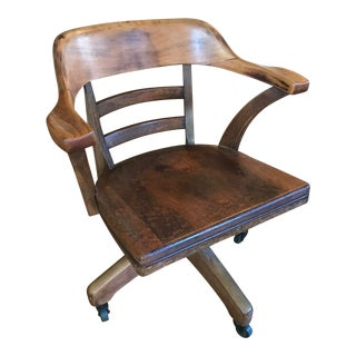 Vintage Mid Century Wood Swivel Office Chair For Sale