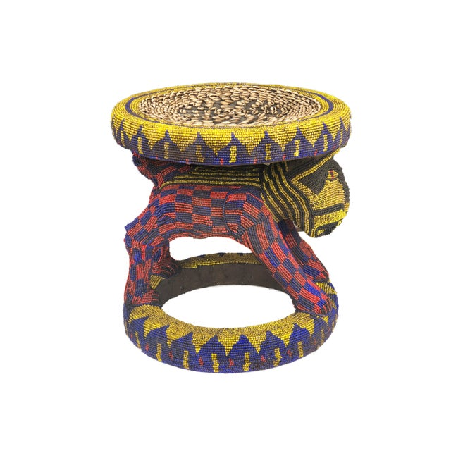 """Old Lg African Beaded Wood Bamileke Stool /Table Cameroon 18.5'""""h For Sale - Image 4 of 10"""