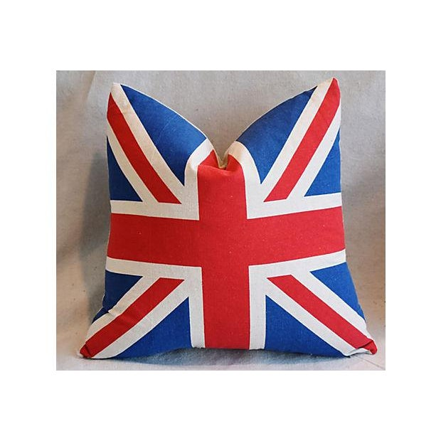 """17"""" Custom Tailored French Ticking & Union Jack Feather/Down Pillows - Set of 2 - Image 3 of 11"""