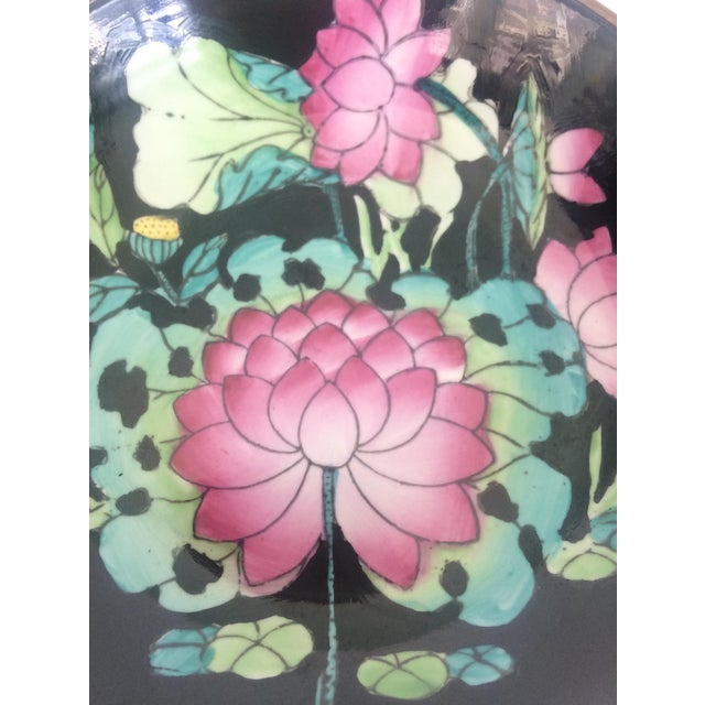 Chinoiserie Lotus Flower Porcelain and Brass Bowl For Sale - Image 3 of 4