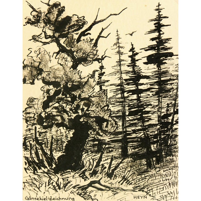 Vintage 1930s Forest Pen and Ink Drawing - Image 1 of 4