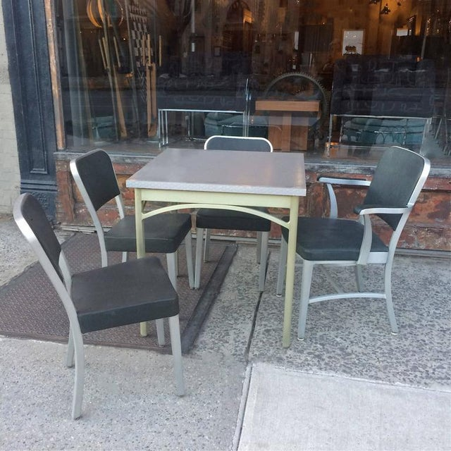 Mid-Century Modern 1940s Mid-Century Modern Brushed Aluminium Dining Set - 5 Pieces For Sale - Image 3 of 10