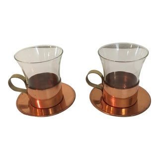 Benjamin & Medwin Copper Glass and Saucer - Set of 4