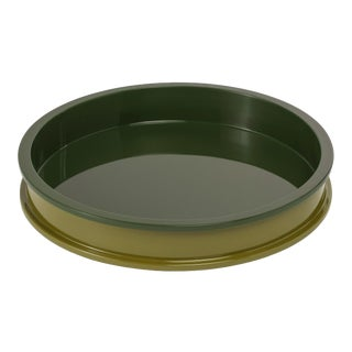 Jeffrey Bilhuber Collection Small Circular Tray in Light Olive / Dark Olive For Sale