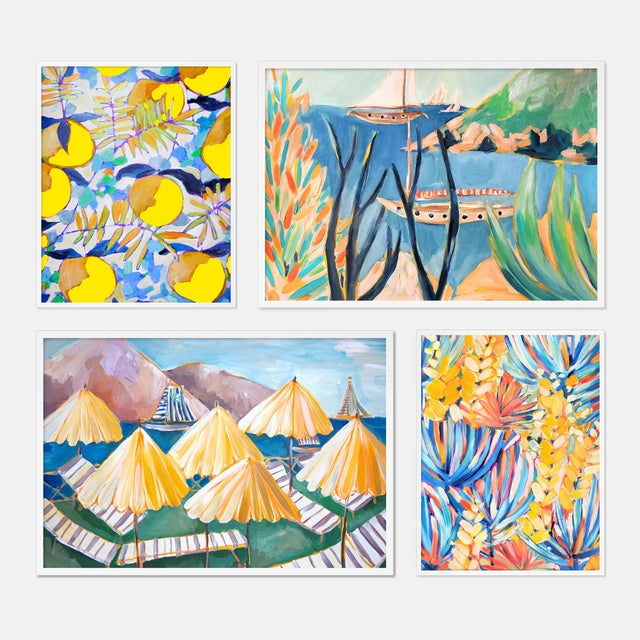 Contemporary Tropical Gallery Wall Set of 4 by Lulu DK in White Framed Paper, Small Art Print For Sale - Image 3 of 3
