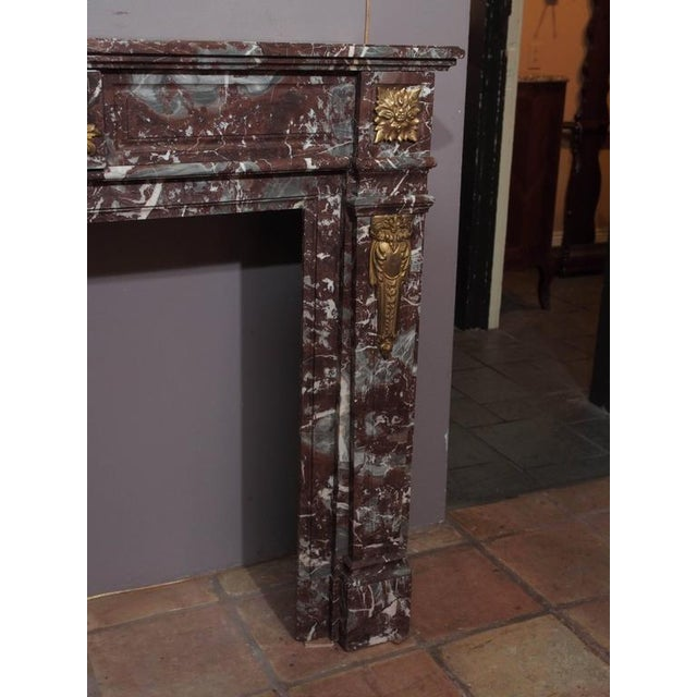 Mid 19th Century Antique French Bronze Mounted Marble Mantle For Sale - Image 5 of 5