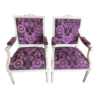 Custom Purple Floral Velvet French Armchairs - a Pair For Sale
