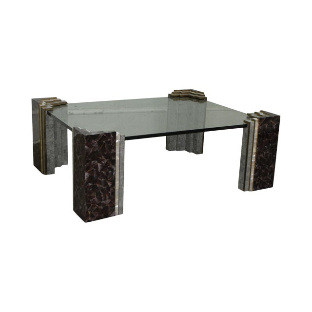 Maitland Smith Tessellated Marble & Stone Glass Top Large Coffee Table - Image 1 of 10