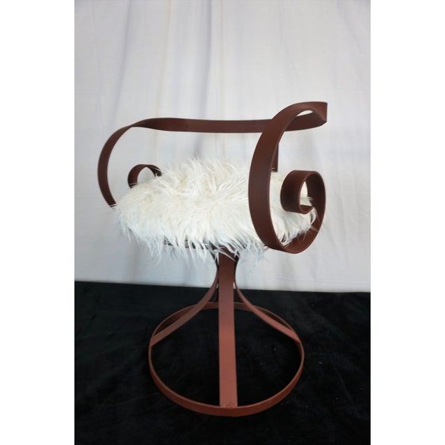 George Mulhauser Sultana Style Metal & Faux Fur Chairs - A Pair For Sale - Image 4 of 10