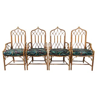 McGuire Rattan Cathedral Chairs, S/4 For Sale