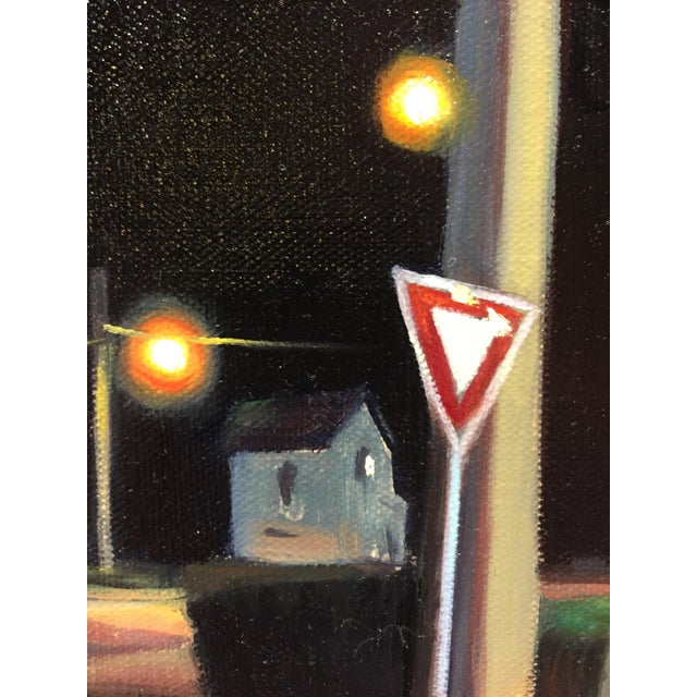 "Contemporary Peter Oil Painting ""Corner Bench"", Contemporary Small Cityscape For Sale - Image 3 of 6"