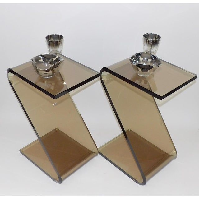 """Abstract Shlomi Haziza Acrylic Bent Lexan Lucite """"Z"""" End Tables / Nightstands - a Pair For Sale - Image 3 of 12"""